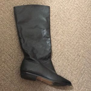 Vintage Black Vegan Leather Boots, 7.5